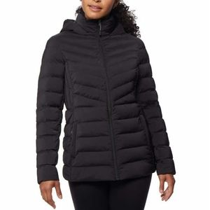 32 Degrees Hooded Puffer Jacket Long L Black NEW